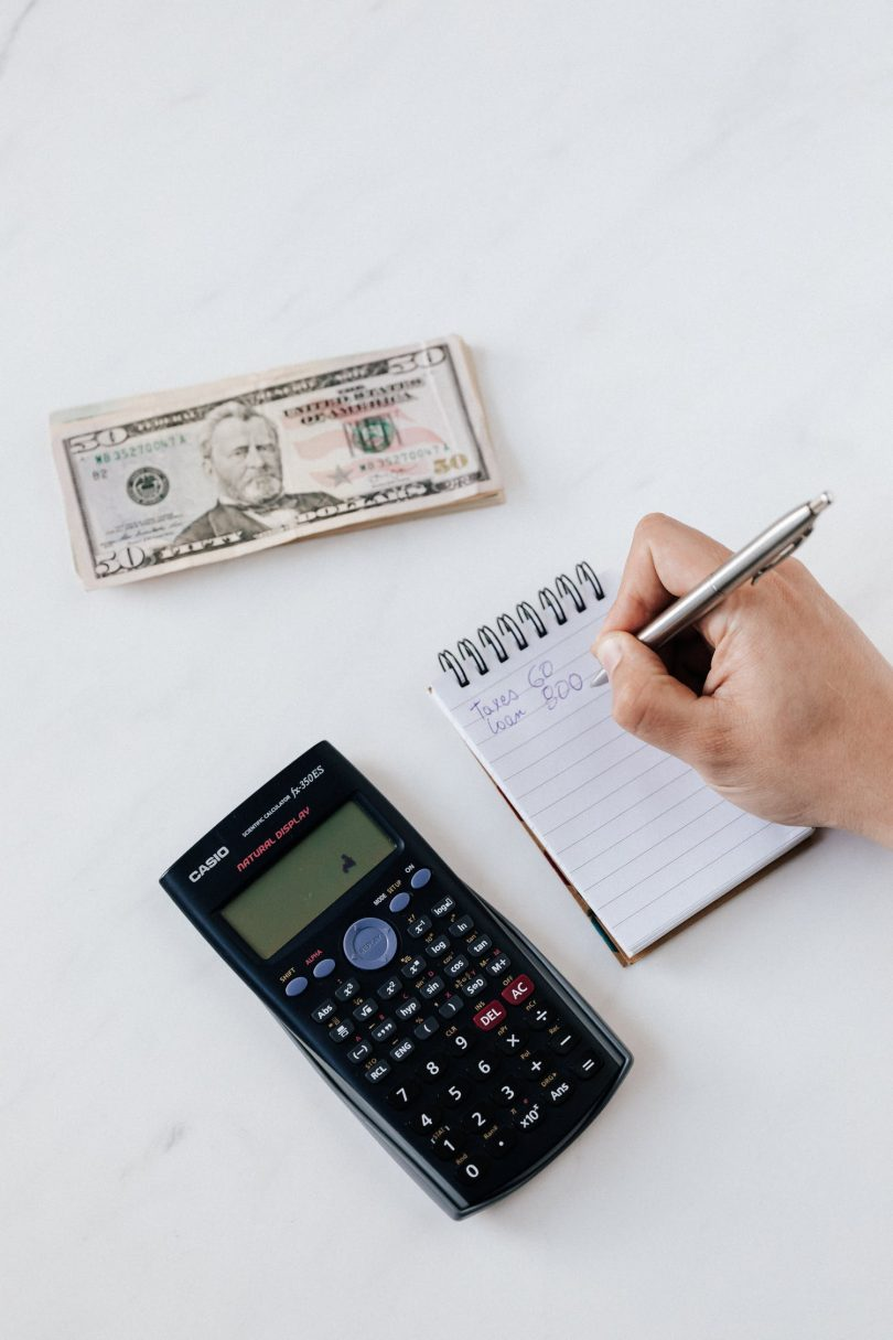 Accountant using calculator to claculate profit